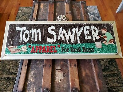 Vintage 1950's CLOTHING STORE Display light up  Sign TOM SAWYER  FOR REAL BOYS