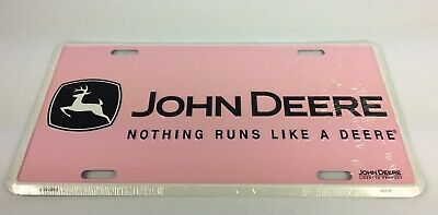 John Deere Tag Metal License Plate Nothing Runs Like A Deere Pink New Free Ship