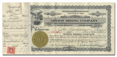 Option Mining Company Stock Certificate