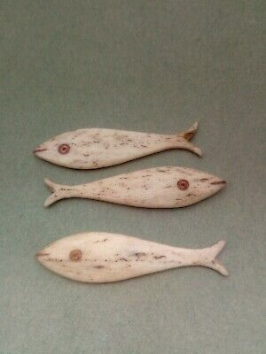 3 Old Carved Bone Gaming Chips in Shape of Fish