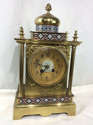Antique Bronze And Champleve Enamel Panel French Mantle Clock