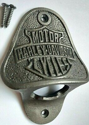 Harley Davidson CAST IRON WALL MOUNTED BEER BAR BOTTLE OPENER * High Quality *