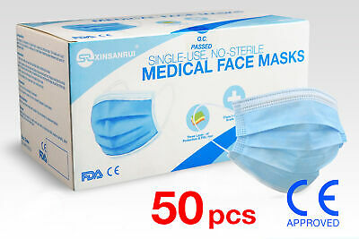 50 Pack Class 1 Medical 3-Ply Disposable Face Mask/98% Filtration/CE Approved