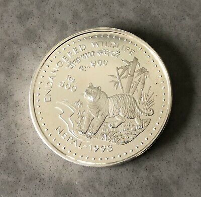 Nepal 500 Rupees 1993 Tiger Silver Proof Coin