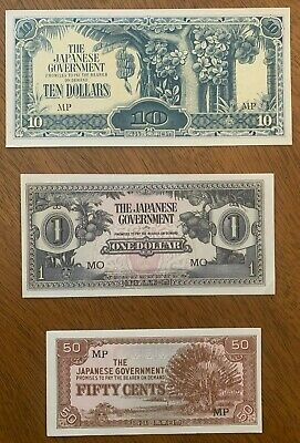 Lot 3 Japanese WWII Invasion Currency 10 Dollars - $1 - 50 Cents - Uncirculated