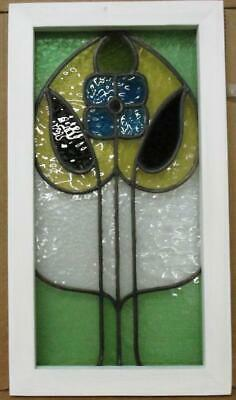 """OLD ENGLISH LEADED STAINED GLASS WINDOW Very Pretty Daisy Design 12.75"""" x 23"""""""