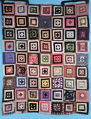 Victorian 19Th C Silk Crazy Quilt Top W Great Calico Backing