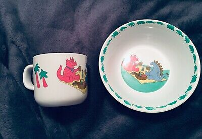 Dinosaurs Picnic Tableware Cup & Bowl Childrens Kids Vintage