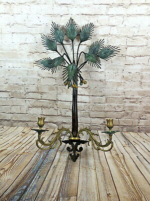 heavy art deco painted wrought iron palm three brass wall mount candle sconce