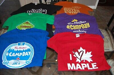 Lot of 10 Tim Hortons Coffee Kids Camp Day & Rollup Promo Staff Shirts (S,M,L)
