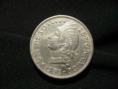 1939 One Peso Dominican Republic Silver Coin AU ( cleaned )