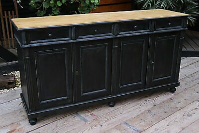 Old Style Black Painted Pine Sideboard/ Cabinet/ Cupboard/ Tv Stand - We Deliver