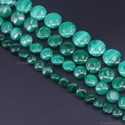 Grade AAA Natural Malachite Gemstone Round Coin Candy Beads 8mm 10mm 12mm 15.5""