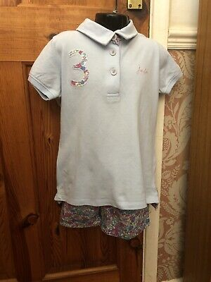 Joules Set T Shirt And Shorts Blue And Ditsy Floral Pattern Age 7 Years