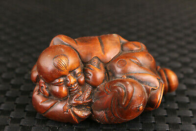 lovely collect chinese boxwood hand carved fish favorite statue decoration