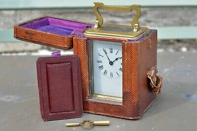 Antique French Brass Carriage Clock - Original Case/Key - By R&C, Paris - c.1890