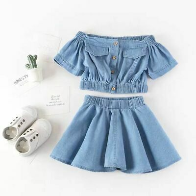 2020 Toddler Kids Baby Girls Outfits Clothes Denim Shirt Tops +Tutu skirt Sets
