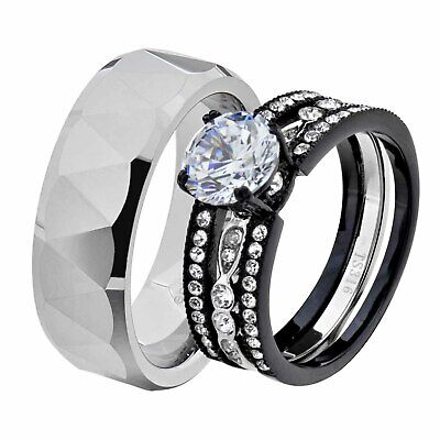 His & Hers Black Stainless Steel Round CZ Wedding Sets Tungsten Men Band GC