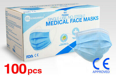 (100) Class 1 Medical 3-Ply Disposable Face Mask/98% Filtration/CE Approved