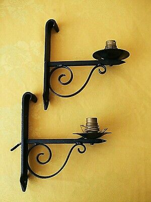 Pair Of Vintage Wrought  Iron Porch Wall Lights.