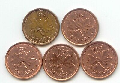 Canada 1996 1997 1998 1999 2000 Penny Canadian 1 Cent 1c EXACT SET SHOWN
