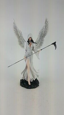 Fairy Statue Figurine High End Poly Resin Hand Painted White Angel Of Death