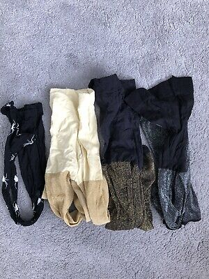 4 Pairs Of Girls Party Tights Size 12-13 Years
