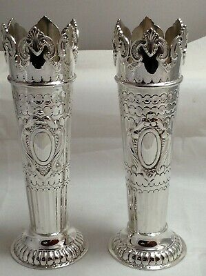Solid Silver Castle Vases 1902 H/M