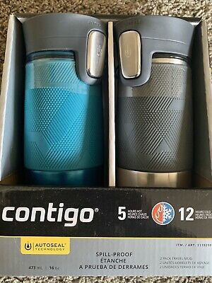 2 Pk Contigo Autoseal Stainless Steel Spill-Proof Travel Mug 16oz Turquoise Gray