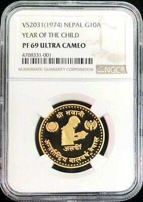 Vs2038//1974 Gold Nepal 10 Asarphi Year Of The Child Coin Ngc Proof 69 Ultra Cam