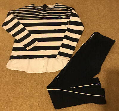 Girls Matching Outfit Long Sleeve Top Leggings Navy Blue Stripes Size 13-14 Year