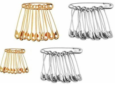 Safety Pins 100Pcs Needles Silver Gold Assorted Small Medium Large Sewing Craft