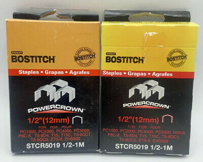 Stanley Bostitch STCR5019 1/2 -1M 12mm Staples **Lot of 2** 2000 Staples