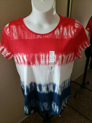 Women's NWT SONOMA Goods For Life Size XL Red/White/BlueTie-Dye Scoop Neck Top