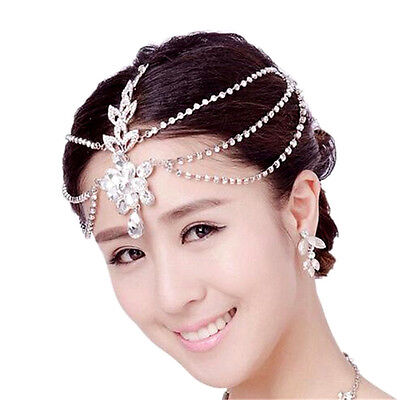 Crystal Wedding Forehead Headband Tiara Crown Bridal Pageant Prom Headpieces