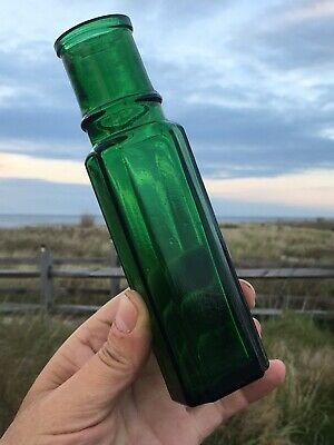 Antique Emerald Green Fluted Capers Bottle ++Dug From Cape May,NJ ++