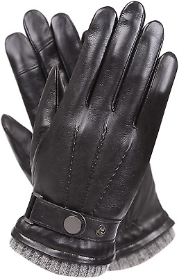 Mens Winter Cold Weather Warm Leather Driving Gloves for Men Wool/Cashmere Blend