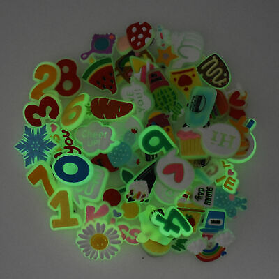 50pcs Luminous Shoe Charms Glow up in the Dark Florescent Light fit Hole Clogs