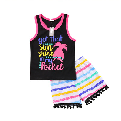 Girls Vest Top Shorts Set Kids Printed Letter Shirt Stripe Tassel Summer Pants