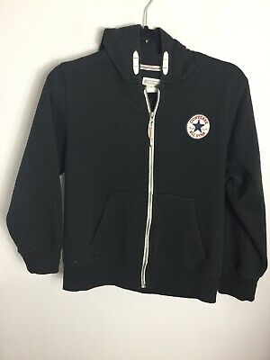 Converse Black Cotton Zip Up Hoodie Top. Size 10-12yrs. VG Condition