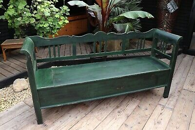 Old Antique Style Pine/ Painted Dark Green Storage Box Bench/Settle. We Deliver!