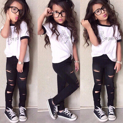 Kids Toddler Baby Girls T-shirt Tops Leggings Pants 3Pcs Outfits Fashion Clothes