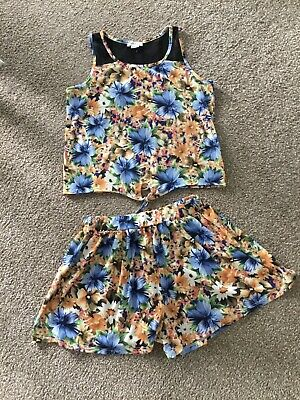 River Island Girls Floral Shorts And Vest Top Outfit Age 9-10 Years