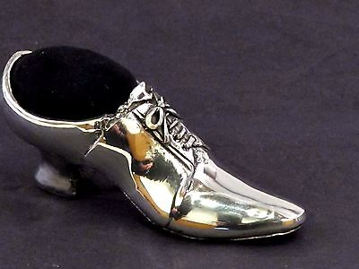 Victorian Shoe English Pewter Pin Cushion by A E Williams Birmingham UK Boxed