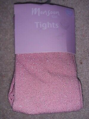 Monsoon GIrl Pink with Glitter/ Sparkle Heavy Tights Age 11 12 13 BNWT