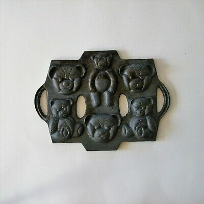 Vintage Cast Iron Mold Teddy Bears Three Models Animal Cookie Muffin Pan
