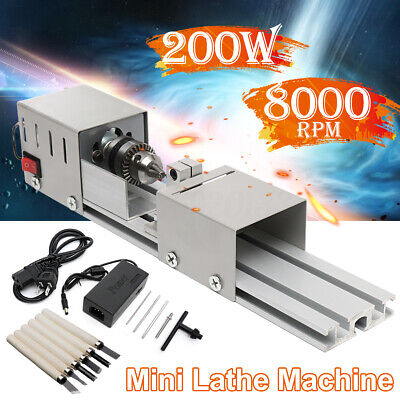 200W Mini Lathe Bead Machine Wood Working DIY Lathe Polishing Drill Polisher