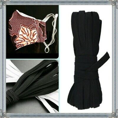 3m GOOD STRONG QUALITY FLAT WOVEN ELASTIC BLACK 6mm 8 cord face Covering