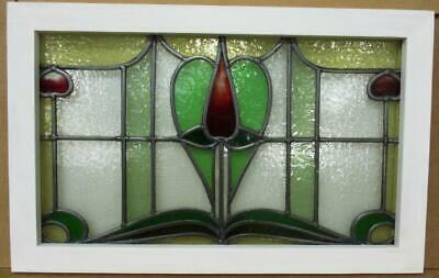 "OLD ENGLISH LEADED STAINED GLASS WINDOW TRANSOM Pretty Tulip 27.5"" x 17.25"""