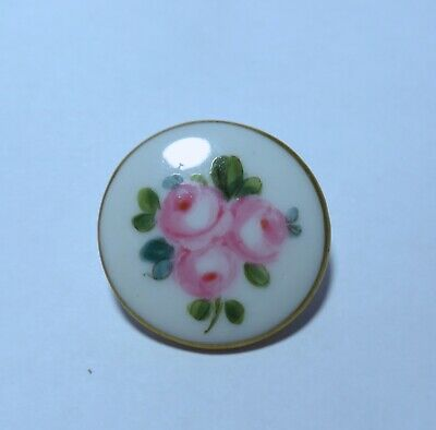 Beautiful Antique Hand Painted Porcelain/China Button~Roses/Gilt